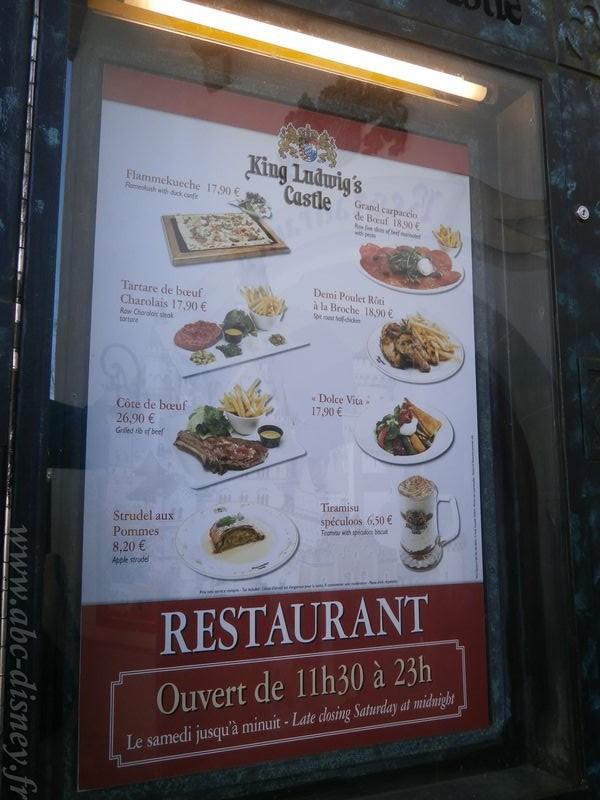 R King ludwig castle menu