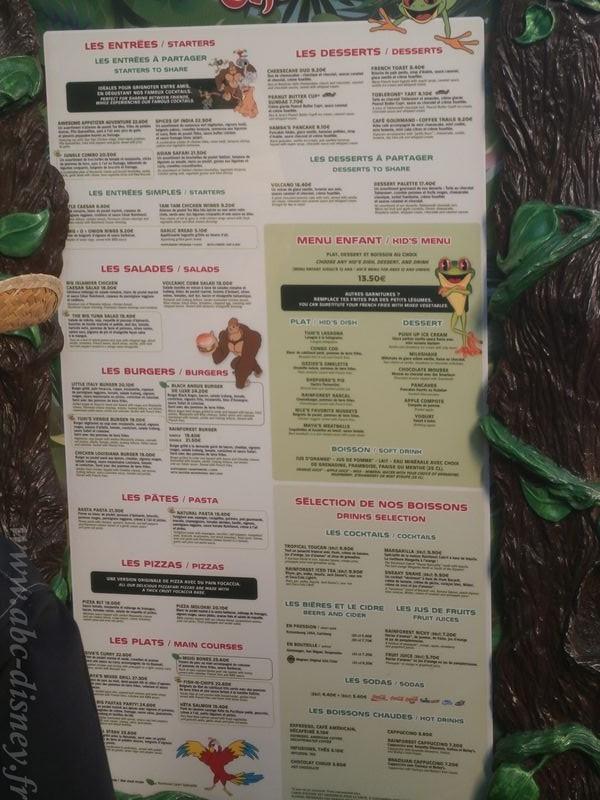 R rain forest menu