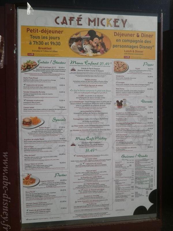 R café mickey menu