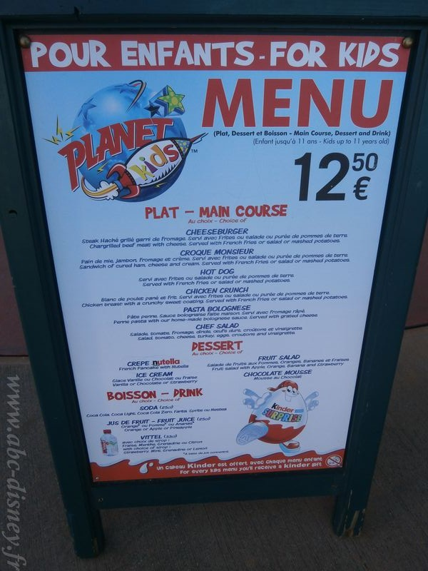 planet hollywood menu enfant